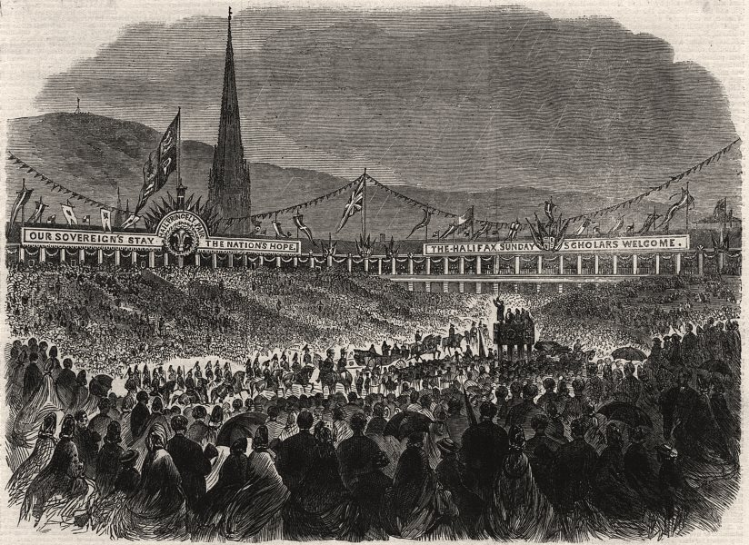 Associate Product The Sunday-School Children in the Piece-Hall, Halifax. Yorkshire, print, 1863