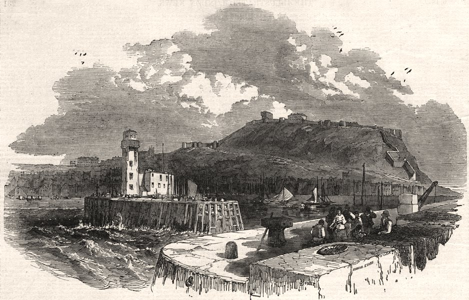 Associate Product Watering places of England - Scarborough from pier-head. Yorkshire, print, 1849