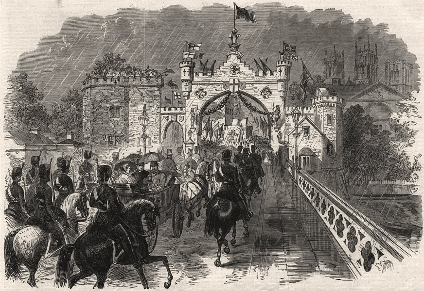 Associate Product Prince & Princess Of Wales going over the new bridge, York. Yorkshire, 1866
