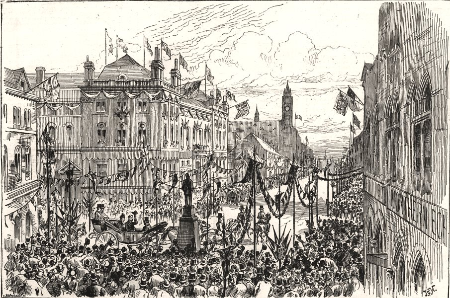 Associate Product Procession at the exchange & Vaughan Monument, Middlesbrough. Yorkshire, 1889