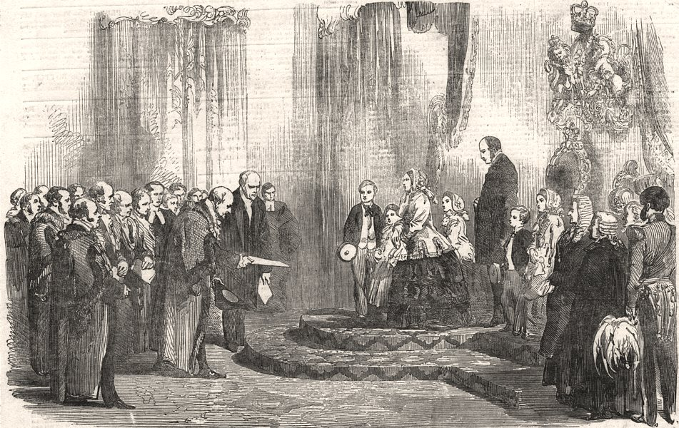 Associate Product Address to Queen Victoria at the Station Hotel, Hull. Yorkshire, old print, 1854