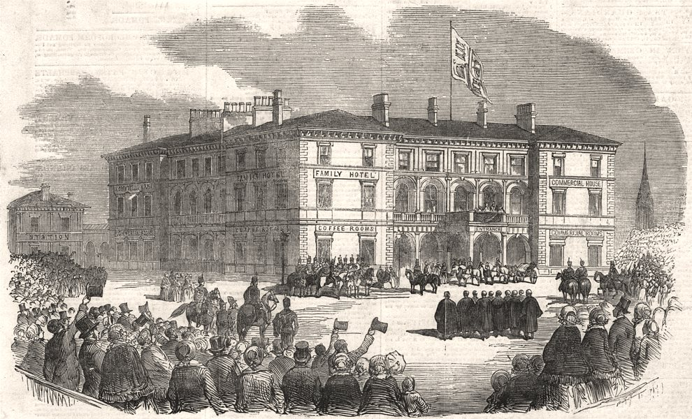 Associate Product Queen Victoria at the Station Hotel, At Hull. Yorkshire, antique print, 1854