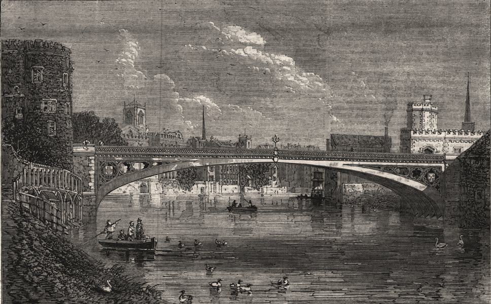 Associate Product New iron bridge over the Ouse at Lendal, York. Yorkshire, antique print, 1863