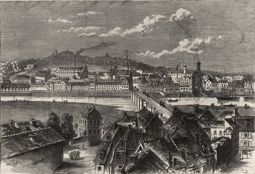 Associate Product Saarbrücken, the day after its capture by the French. Germany, old print, 1870