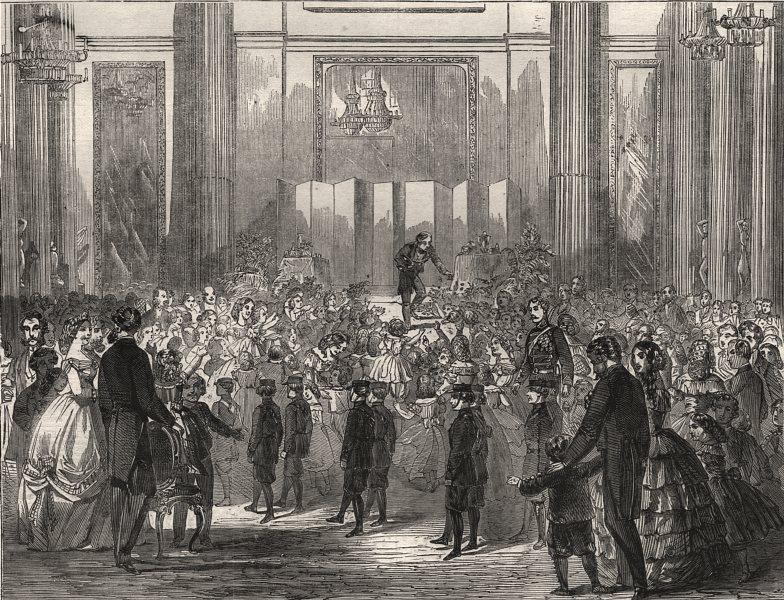 Associate Product Juvenile entertainment at the Mansion House. London, antique print, 1861