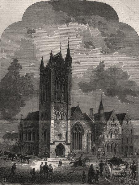 Associate Product The new Free Barony church, Glasgow. Scotland, antique print, 1869