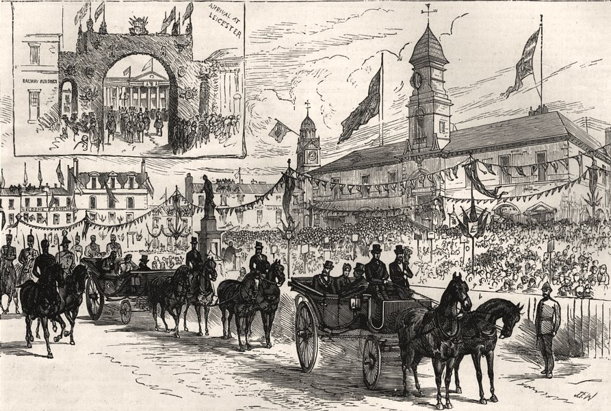 Associate Product Children singing the national anthem in Leicester market place, old print, 1882