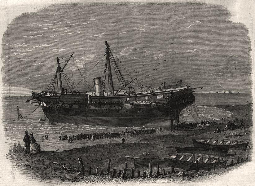 Associate Product The steamer Amphion ashore at Sheringham, on the Coast of Norfolk, print, 1865