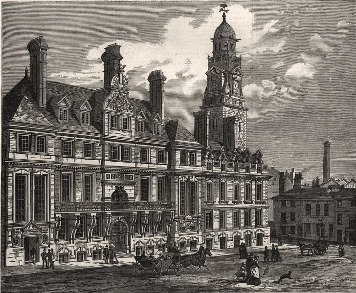 Associate Product New town hall, Leicester, opened on Monday last. Leicestershire, old print, 1876