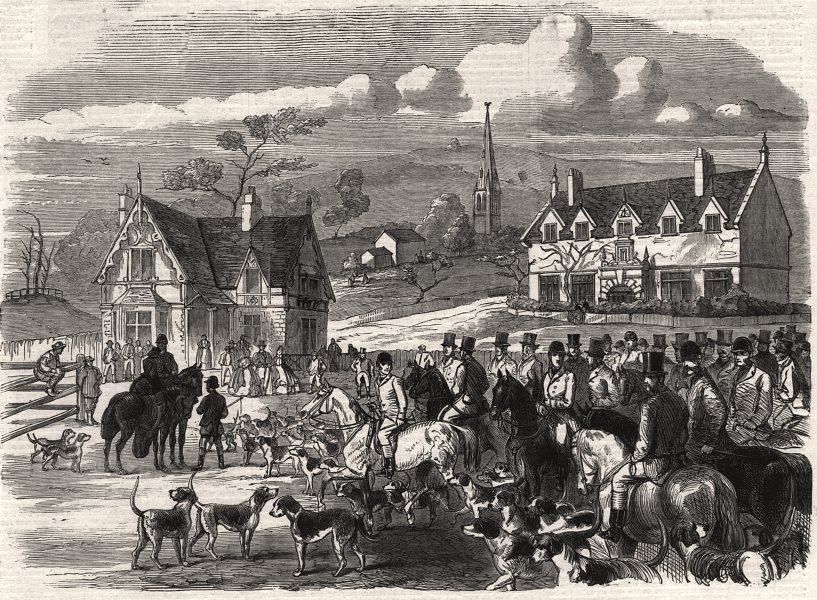 Associate Product Opening meet of the Quorn Hounds at Kirby Gate, Leicestershire, old print, 1863