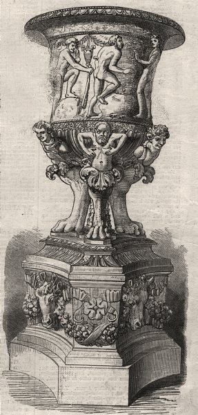 Ancient vase in the central hall, British Museum. London, antique print, 1869