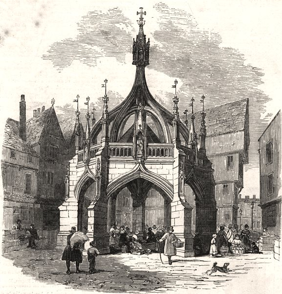 Associate Product The Poultry Cross at Salisbury, restored. Wiltshire, antique print, 1853