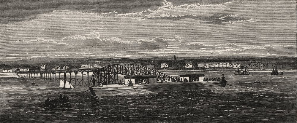 Associate Product The south side landing-stage of the new Mersey Ferry. Lancashire, print, 1865