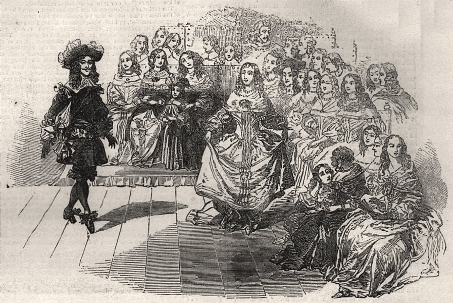 Associate Product Her Majesty's costume ball - costume of the restoration. London, old print, 1851