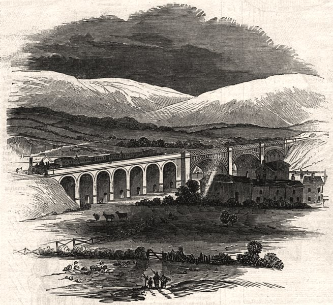 Associate Product Lancaster. Bridge over the Lune, from the churchyard, antique print, 1846