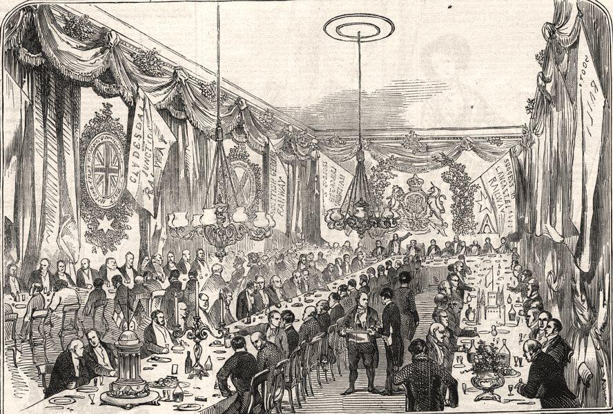 Associate Product Railway contractors' dinner at the Crown & Mitre Inn, Carlisle. Cumbria, 1846