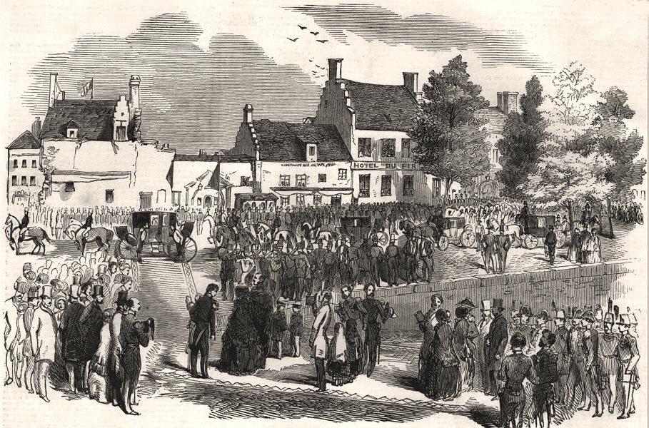 Associate Product Queen Victoria's visit to Belgium. Arrival at Antwerp. Belgium, old print, 1852