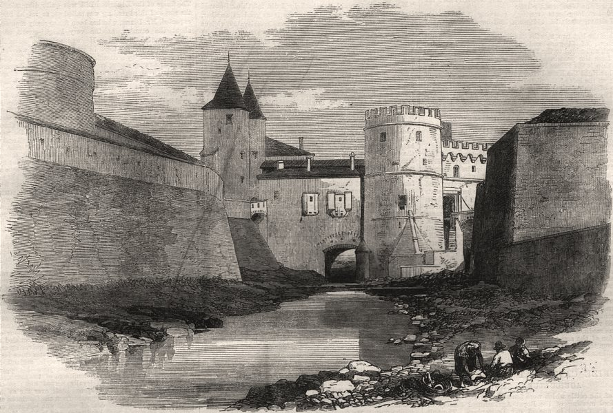 Associate Product Fortifications of Metz: the Porte des Allemands. Moselle, antique print, 1870