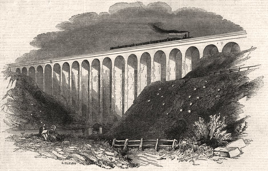 Associate Product Completion of the South-Eastern Railway. The Folkestone viaduct. Kent, 1844
