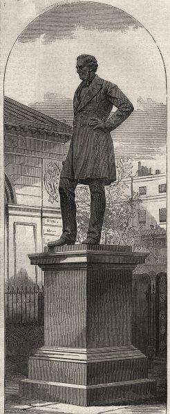 Statue of Robert Stephenson, in Euston Square. London, antique print, 1871