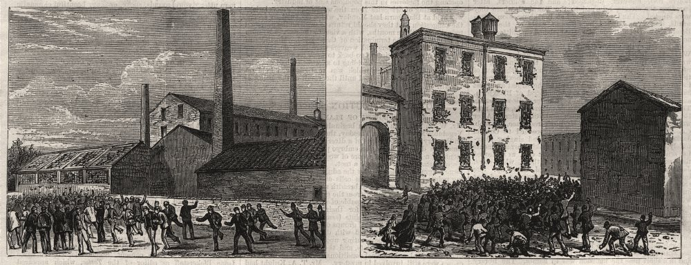 Associate Product Colonel Raynsford Jackson's Mill; Hopwood's Mill. Lancashire, old print, 1878