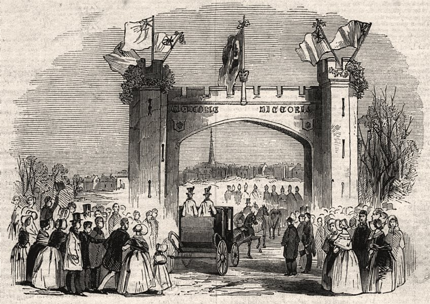Associate Product Triumphal arch, Belgrave Gate, Leicester. Leicestershire, antique print, 1843