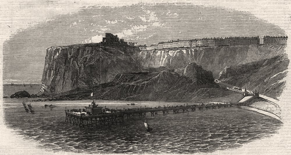 Associate Product The new pier at Scarborough. Yorkshire, antique print, 1869