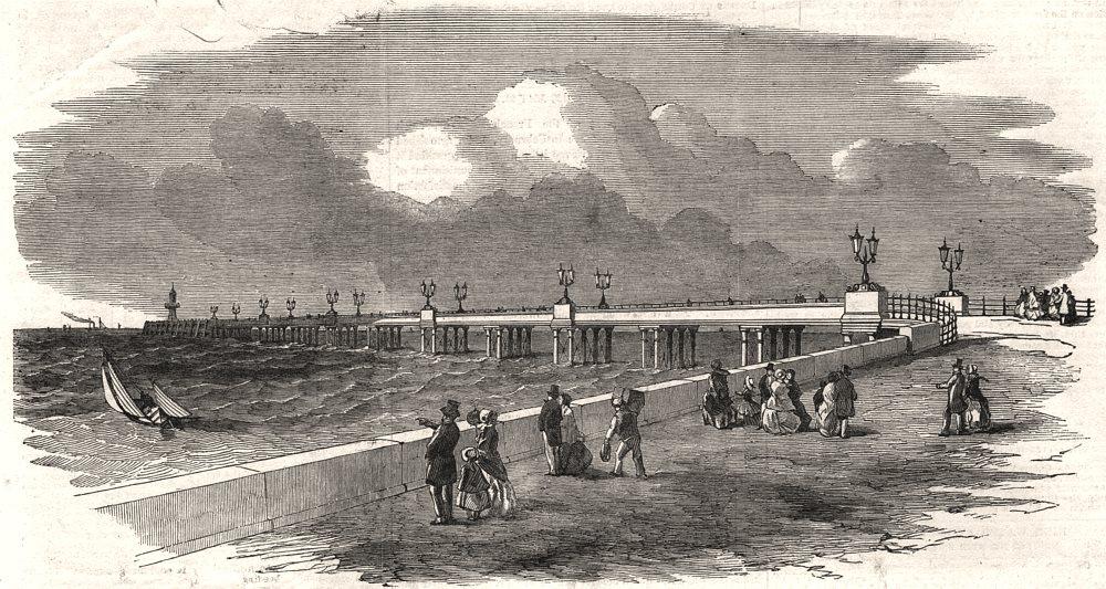 Associate Product New high water landing pier, at Margate. Kent, antique print, 1853