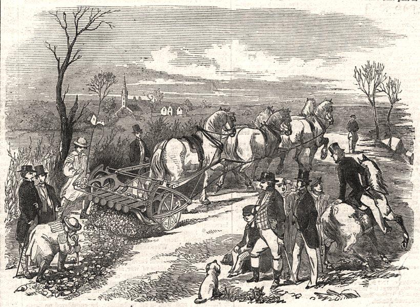 Associate Product Samuelson's patent digging machine. Farming, antique print, 1853