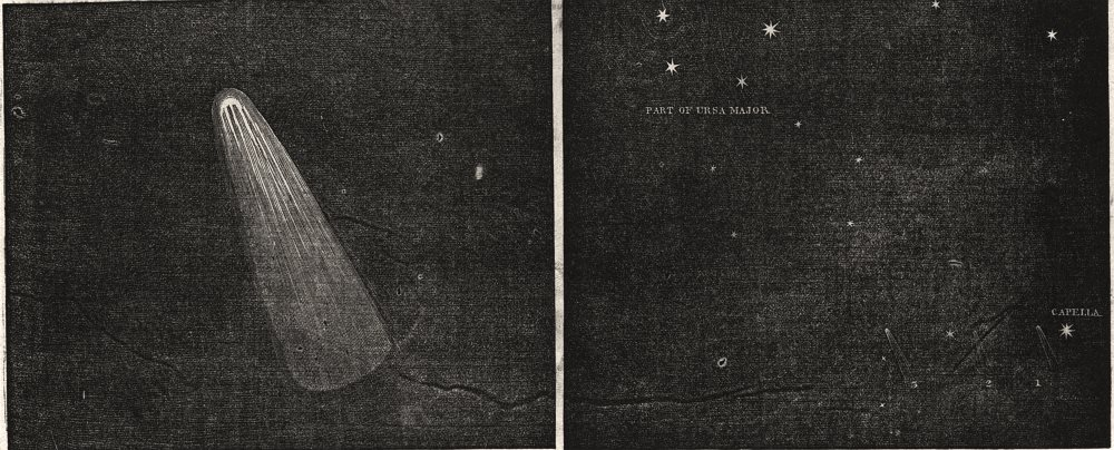 The Comet through the telescope of Sir J. South. Astronomy, antique print, 1845