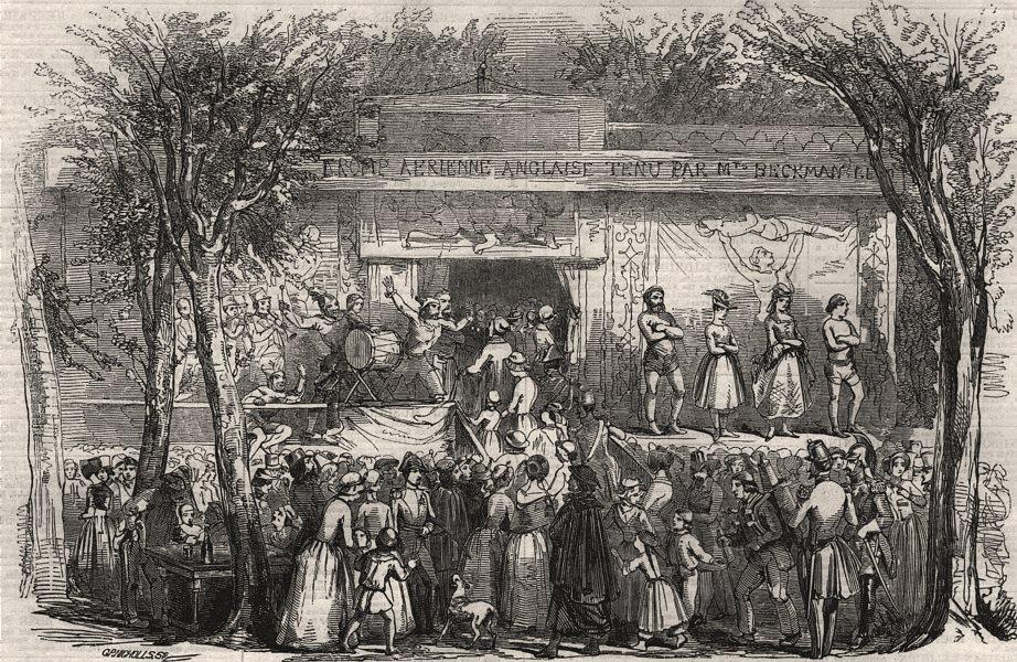 Associate Product Popular amusements of Paris. Booth at the barrier. Paris, antique print, 1855