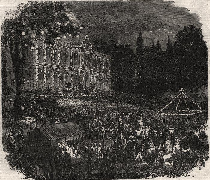 Popular amusements of Paris. The chateau of Aspires. Paris, antique print, 1855