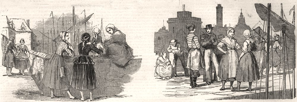 Associate Product Calais fetes. Courgainaise fishwomen; sketch in the Courgain, old print, 1852