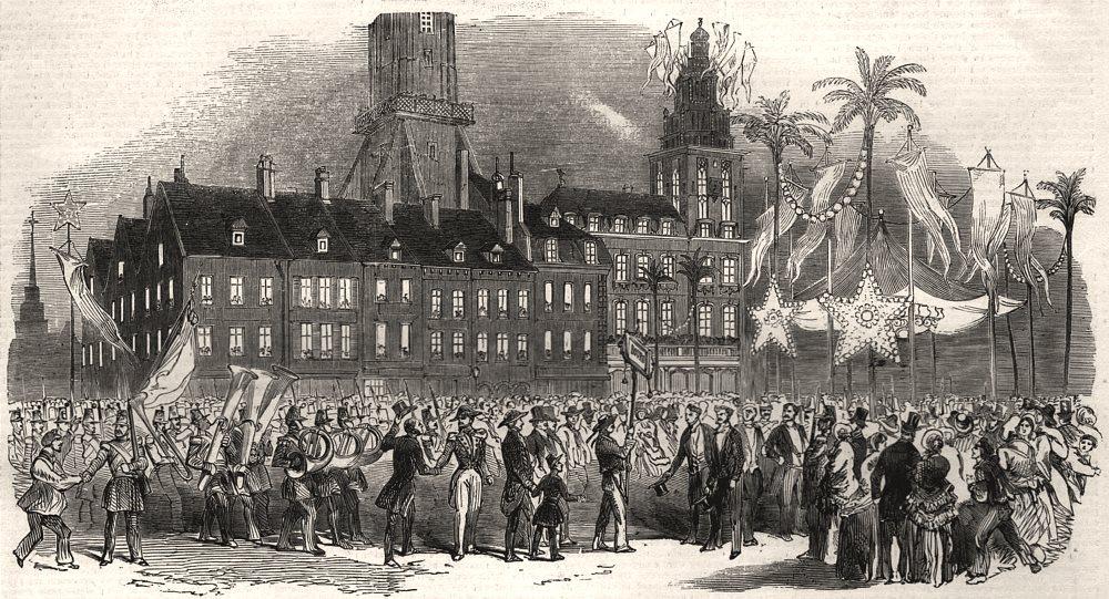 Associate Product Calais fetes. Musical procession in the Grande Place. Pas-de-Calais, print, 1852