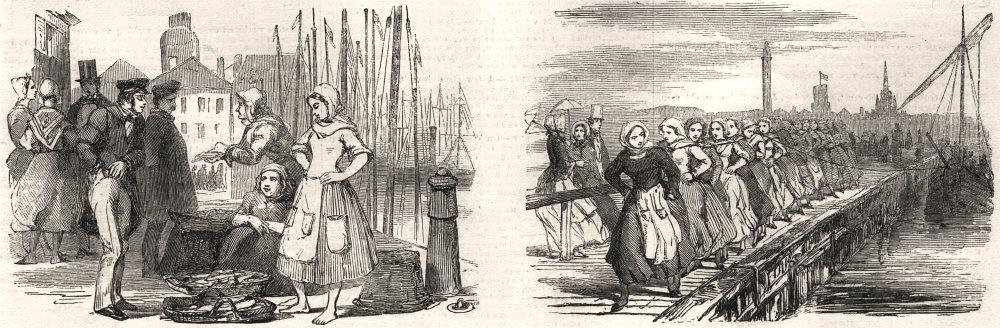 Associate Product Calais fetes. Courgain fishmarket; Women hauling in a fishing boat, print, 1852