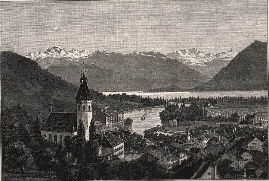 Associate Product Holiday reports on the Continent. Thun, Switzerland, antique print, 1886