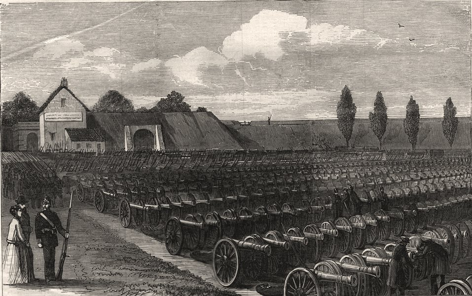 Associate Product The war: guns captured by the Prussians at Sedan. Ardennes, antique print, 1870