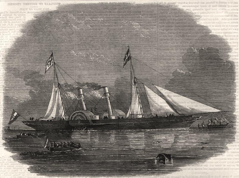 "Associate Product The Austrian steam yacht ""Fantasie"", antique print, 1858"