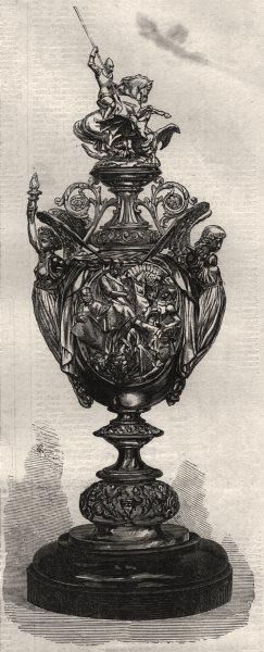 Associate Product Prize cup for Doncaster Races. Yorkshire, antique print, 1866