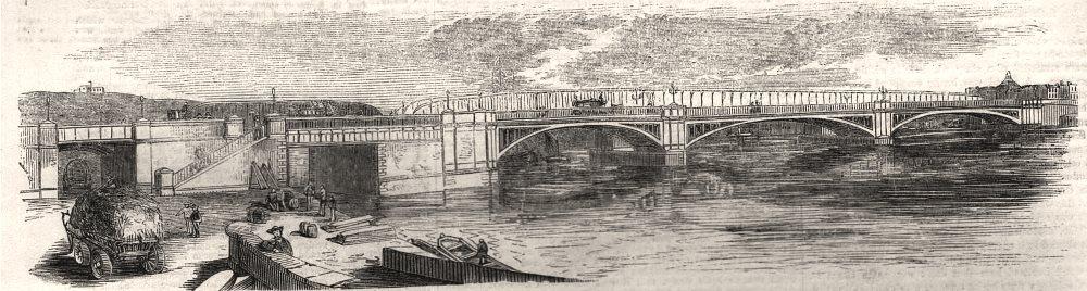 Associate Product New iron bridge at Rochester. Kent, antique print, 1856