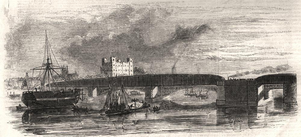 Associate Product The bridge, Rochester, East Kent Railway, antique print, 1856