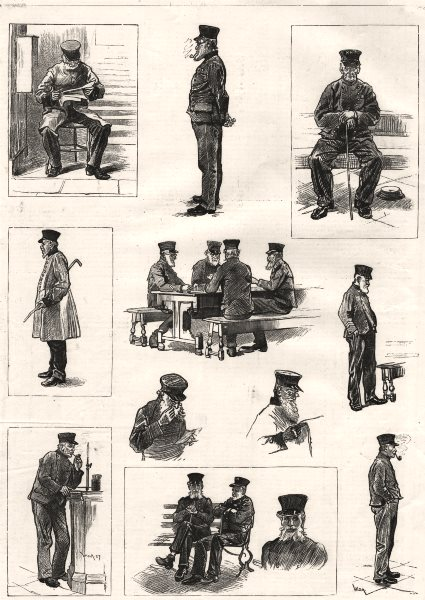 Associate Product Sketches at Chelsea Hospital: old pensioners. London, antique print, 1890