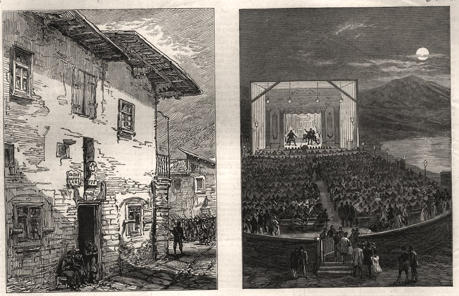 Associate Product The war in Spain: Puycerda town hall; Summer theatre, Phalerum Bay, Athens, 1874