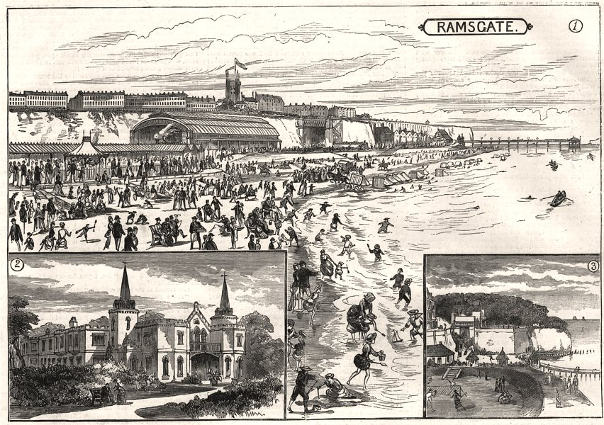Associate Product Ramsgate Sands & station. Sir Moses Montefiore's house. Pegwell Bay. Kent, 1885