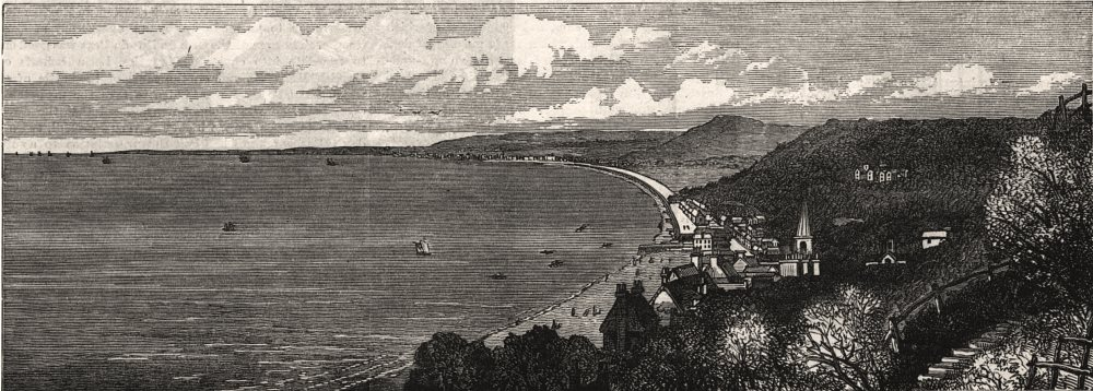 Associate Product View westward from Folkestone over Sandgate to Hythe. New embankment. Kent, 1881