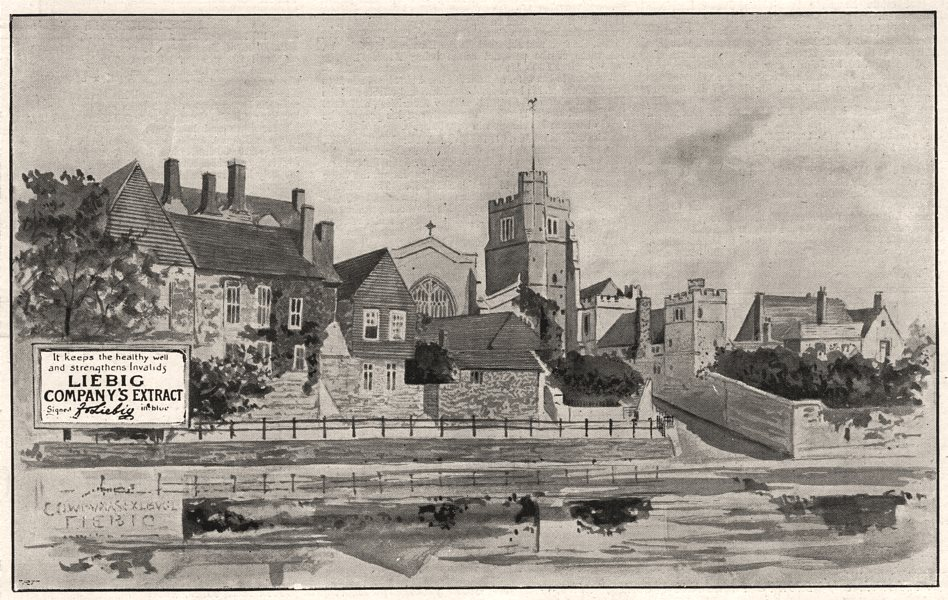 Associate Product The typhoid epidemic: Maidstone, from the Medway. Kent, antique print, 1897