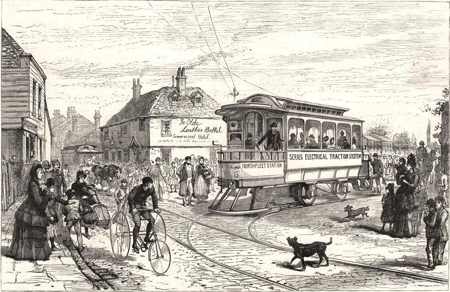 Associate Product Electric tramway at Northfleet. Kent, antique print, 1889
