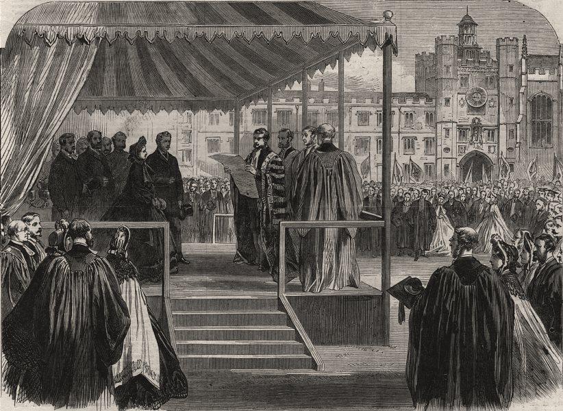 Associate Product Cambridge University. Address to the Prince in Trinity College quadrangle, 1864