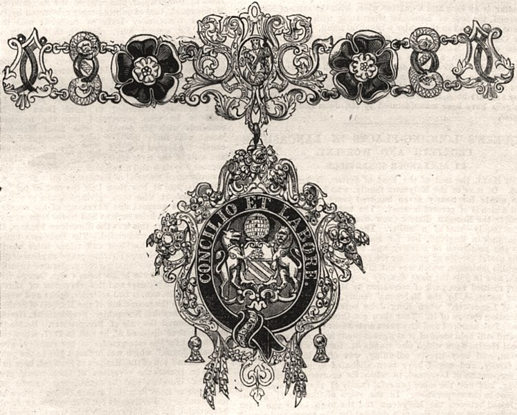 Associate Product Collars and jewel of the Mayor of Manchester. Lancashire, antique print, 1851