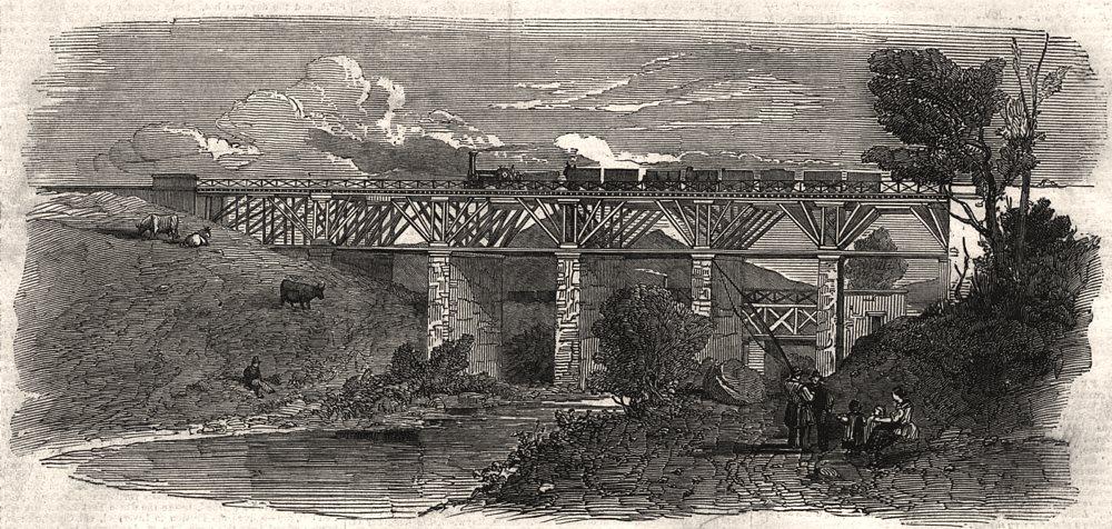 Associate Product East Lancashire Railway. The Alder Bottom viaduct. Lancashire, old print, 1848